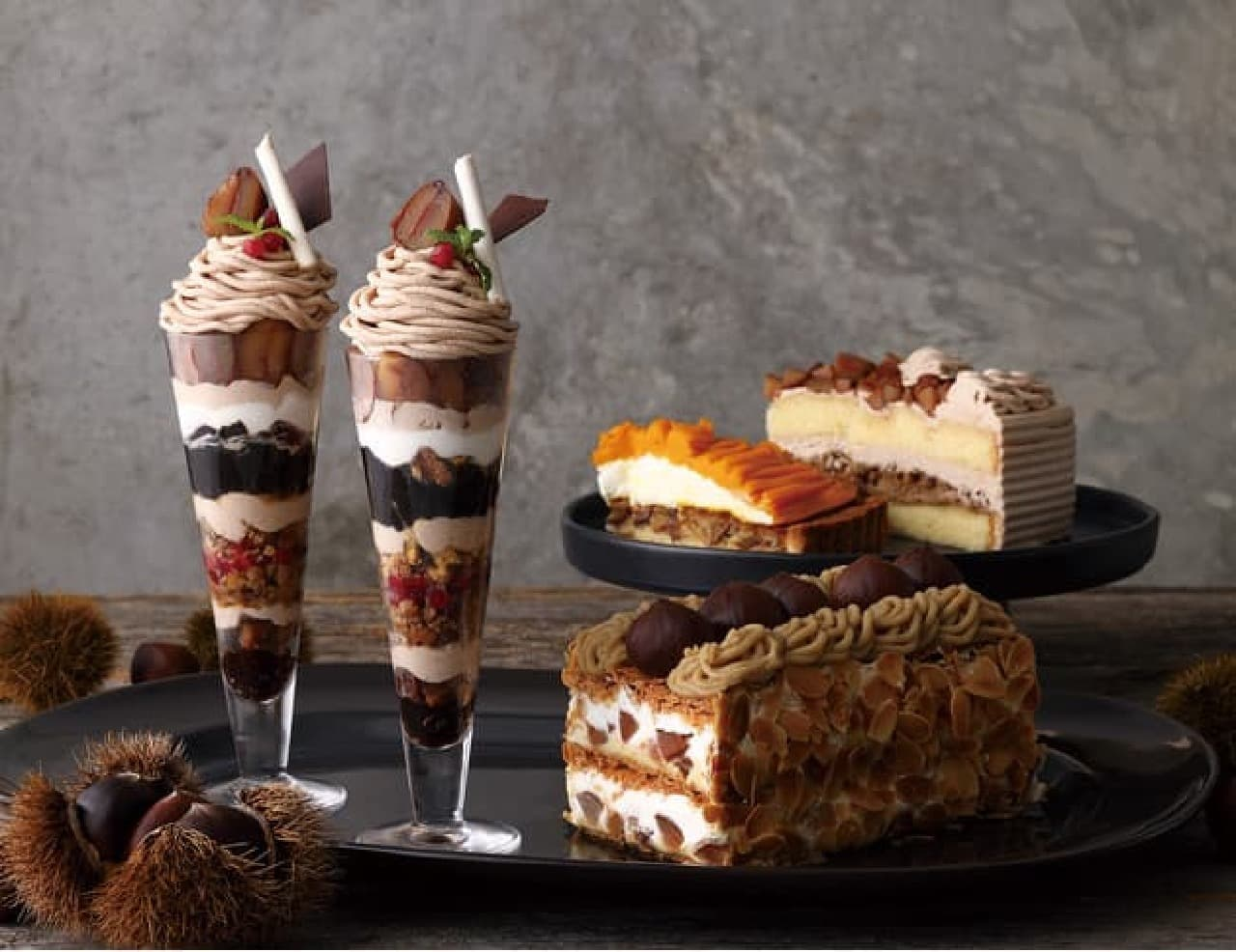 キハチ カフェ「マロンパフェ」「マロンパイ」「栗のショートケーキ」「栗とかぼちゃのタルト」