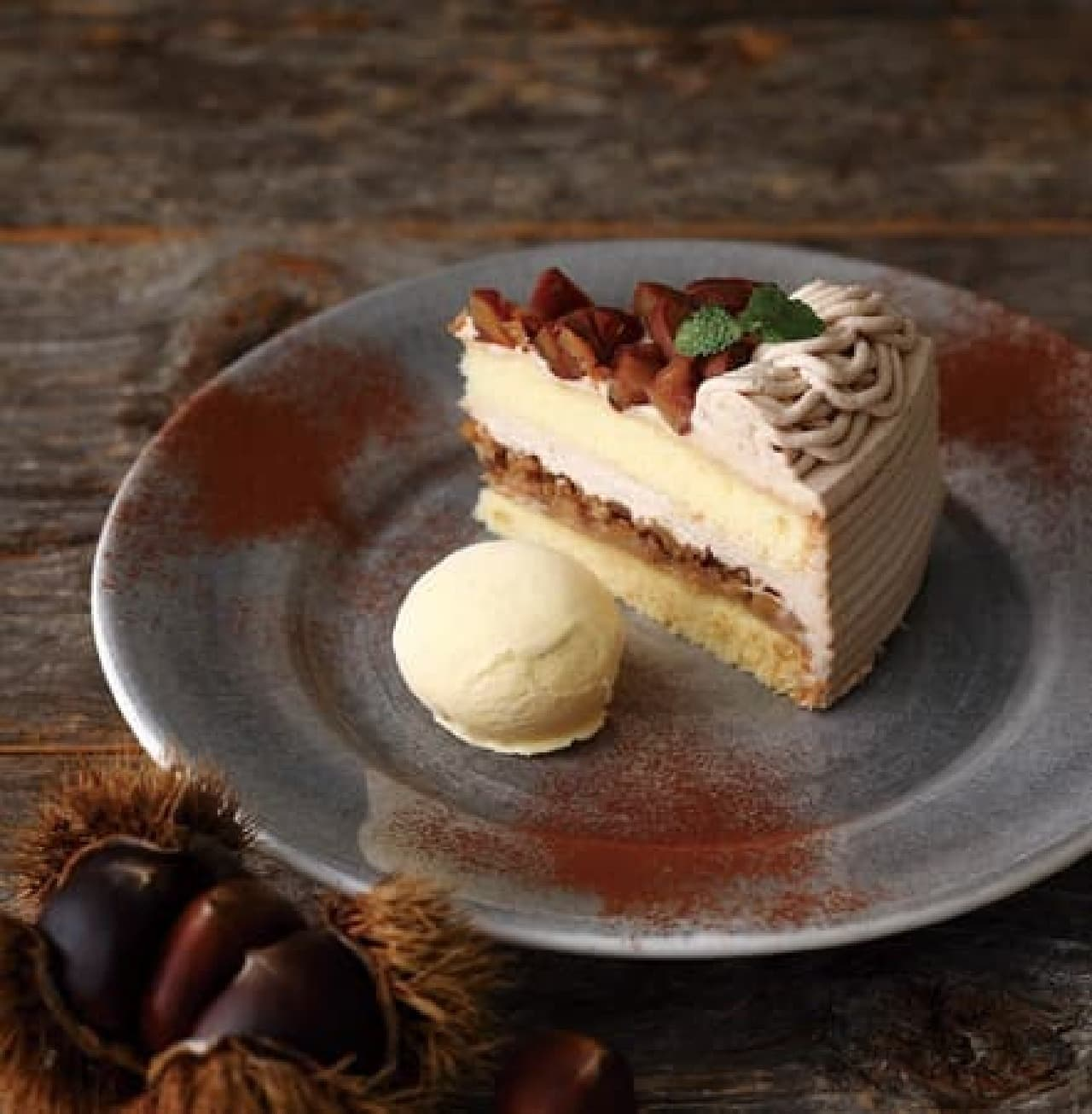 キハチ カフェ「栗のショートケーキ」