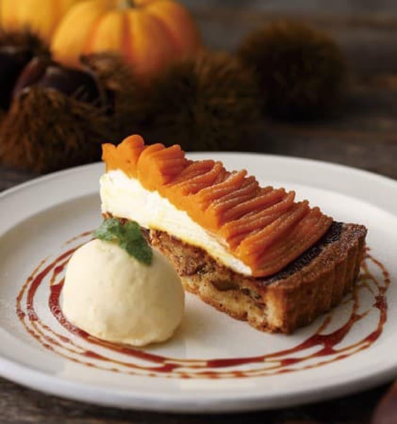 キハチ カフェ「栗とかぼちゃのタルト」