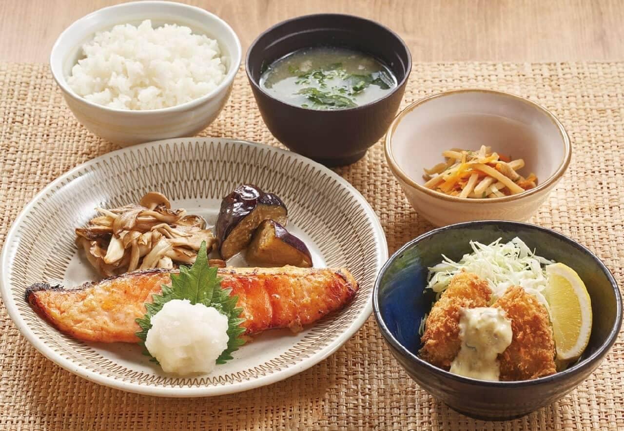 ジョナサン「キングサーモンの西京焼きと広島産牡蠣フライ膳」