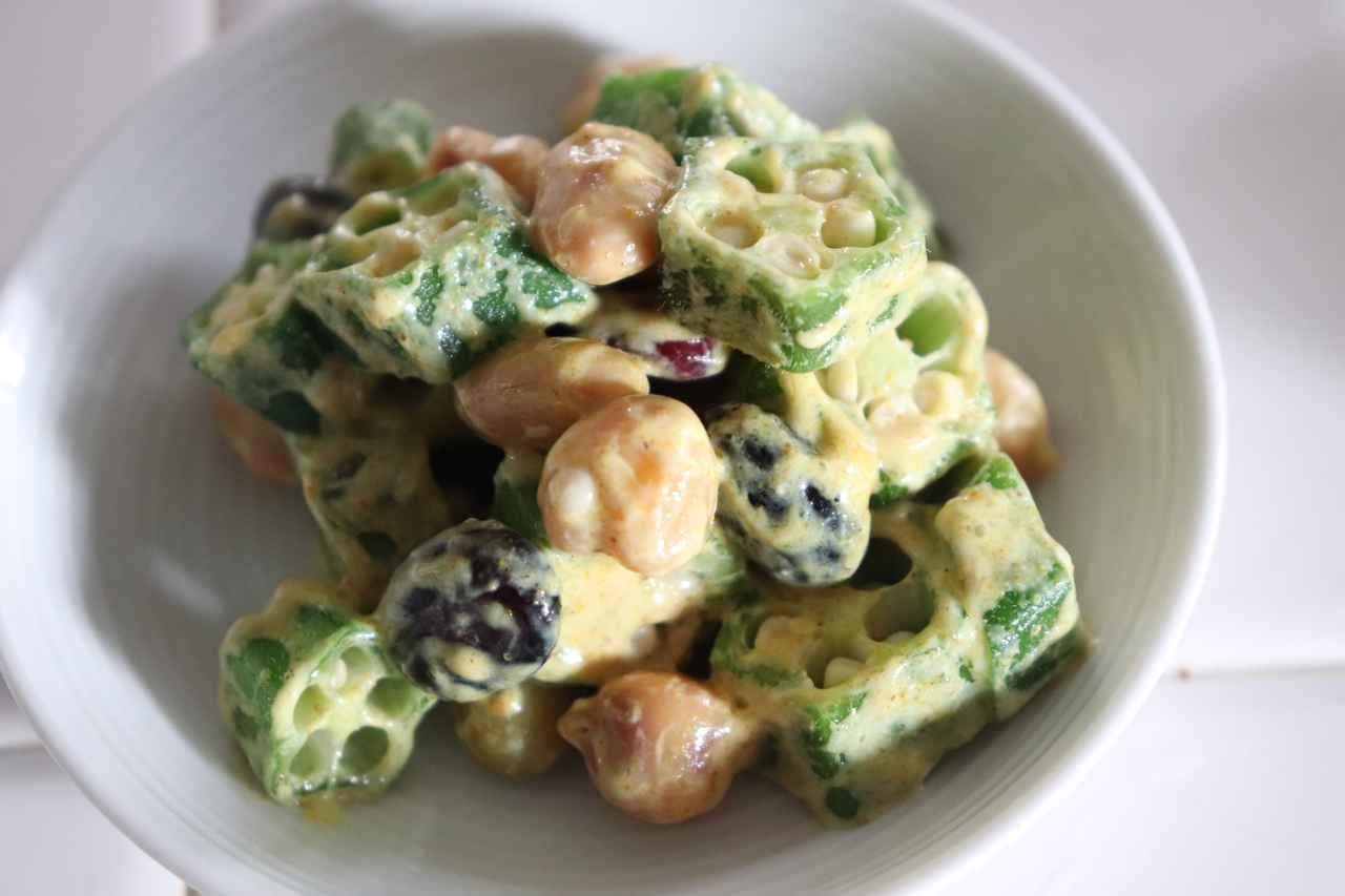「オクラと豆のカレーヨーグルト和え」のレシピ