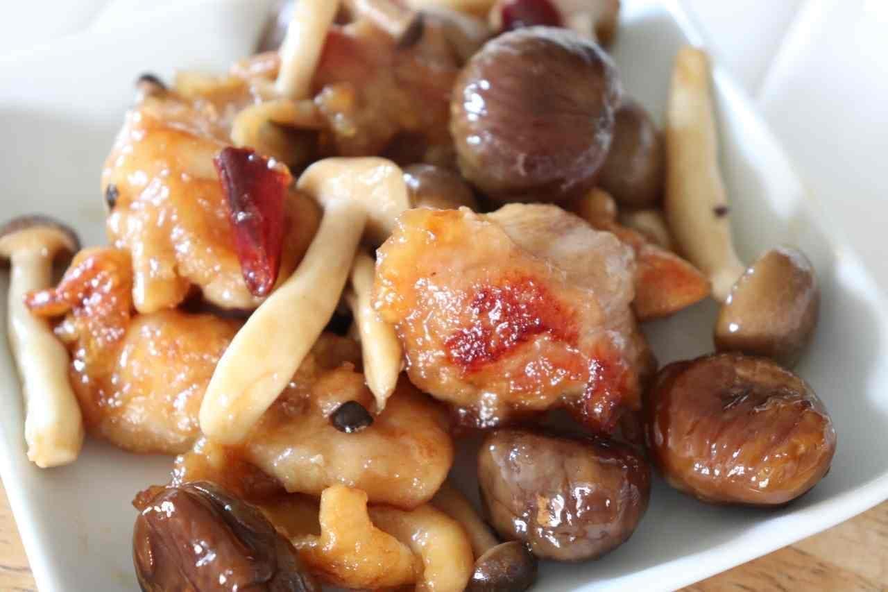 鶏肉と甘栗の中華炒め