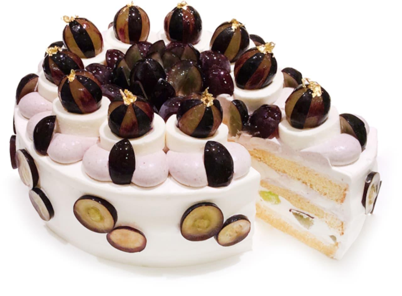 """カフェコムサ """"ぶどうの日"""" のショートケーキ"""