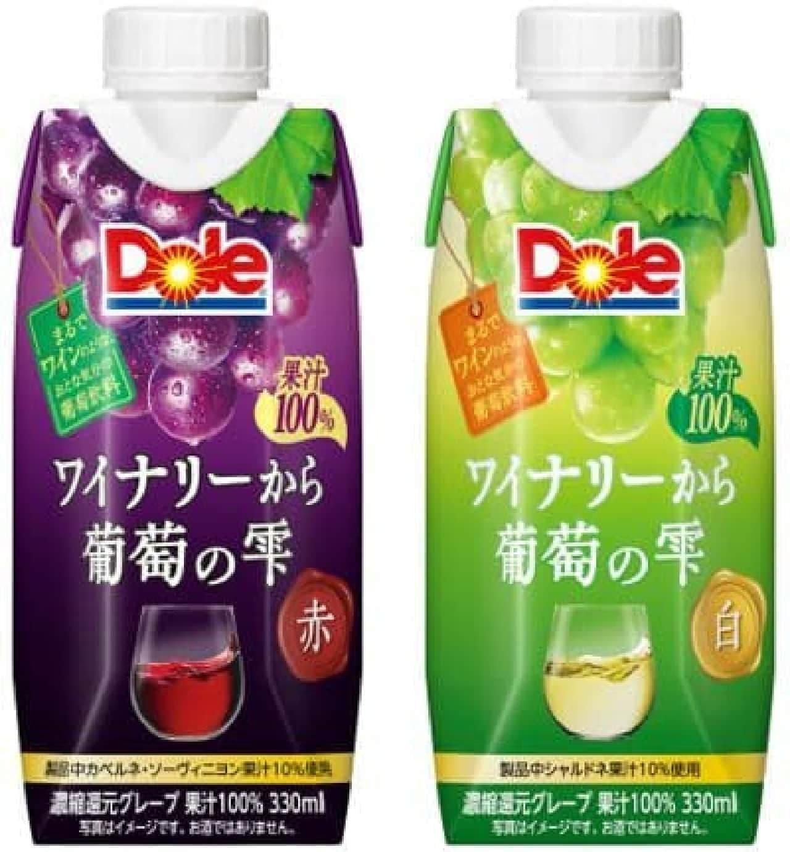 雪印メグミルク「Dole ワイナリーから 葡萄の雫 赤」「Dole ワイナリーから 葡萄の雫 白」