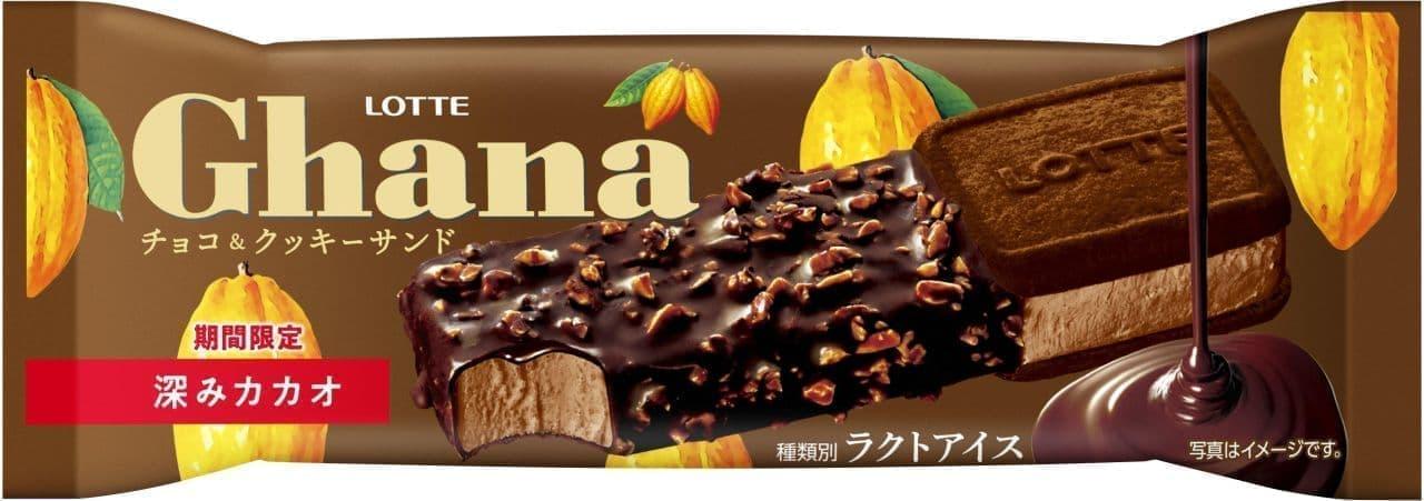 ロッテ「ガーナチョコ&クッキーサンド 深みカカオ」