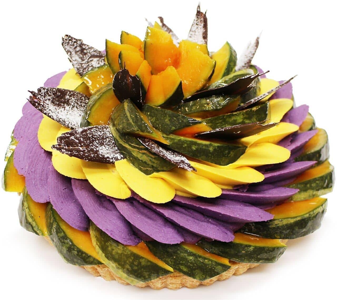 カフェコムサ「ハロウィン限定ケーキ ~かぼちゃと紫芋クリームのケーキ~」