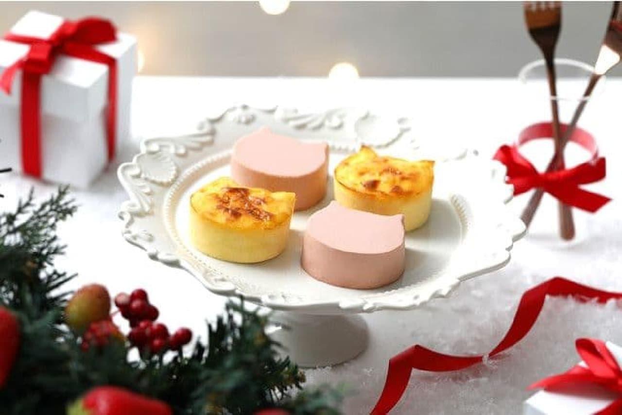 ねこねこチーズケーキ「にゃんチー4個入(プレーン&いちご)」