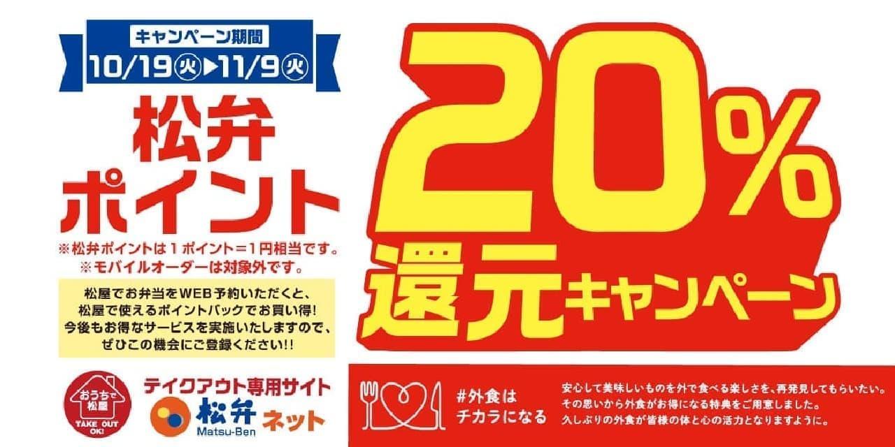 松屋「松弁ポイント20%還元」