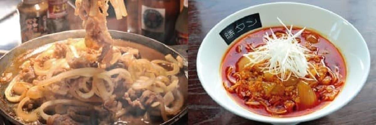 十和田バラ焼き(左)、勝浦タンタンメン(右)   (出展:B-1グランプリ in 豊川)