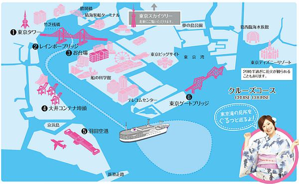 納涼船クルーズマップ  (出典:東京湾納涼船公式サイト)