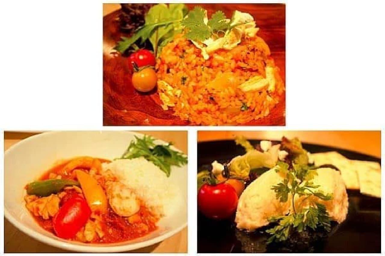 上:コロンビアのチキンライス「アロス・コン・ポーヨ」  左:コートジボワールの牛テールスープ「ペペスープ」  右:ギリシャの前菜料理「タラモサラタ」