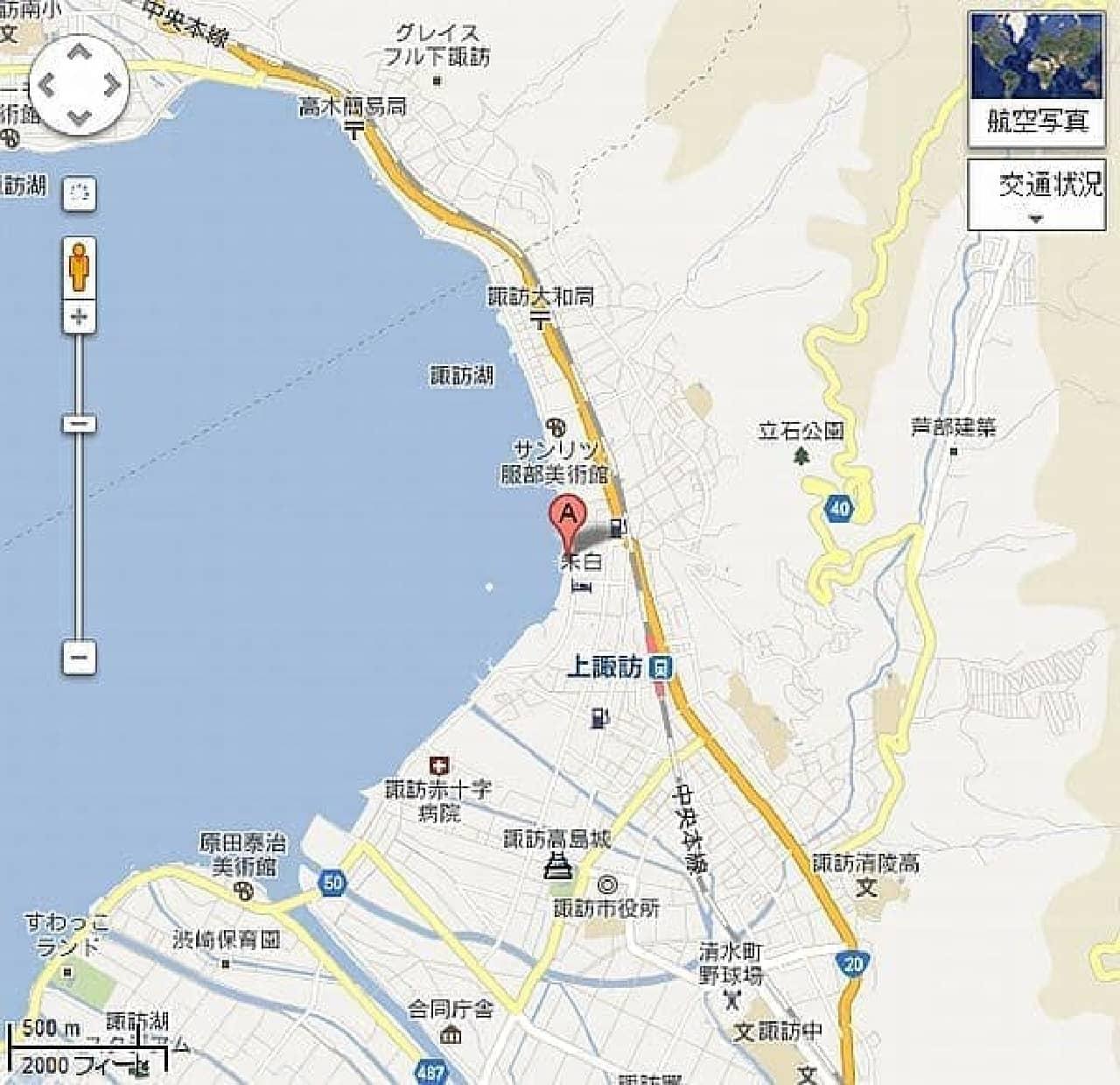 「諏訪湖観光汽船売店地図」  ぜひとも現物を見に行ってもらいたい