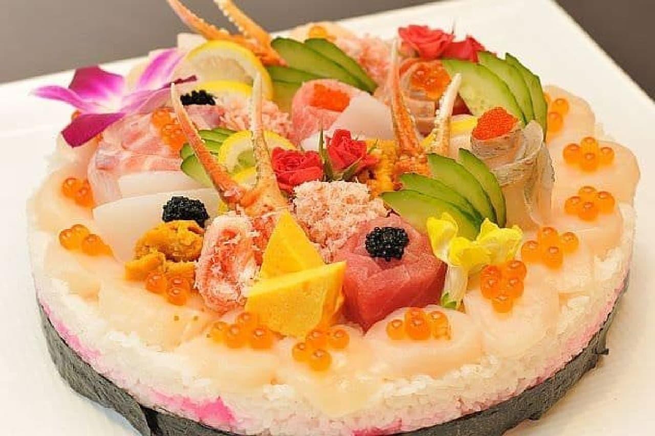 「寿司ケーキ」 賀寿セレモニープランで発売中