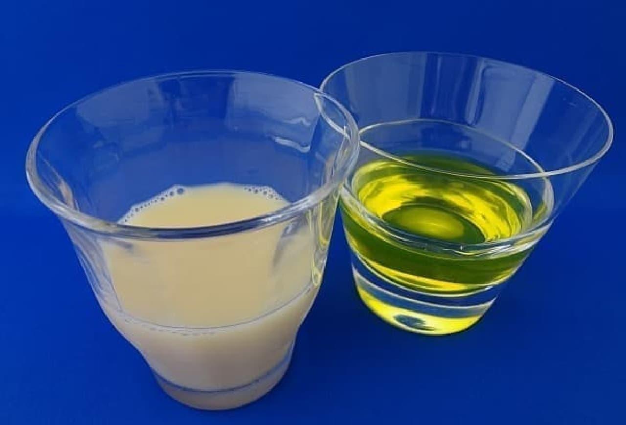 参考画像:ヤクルトとタフマンでは、色がこんなに違う!(左:ヤクルト、右:タフマン)