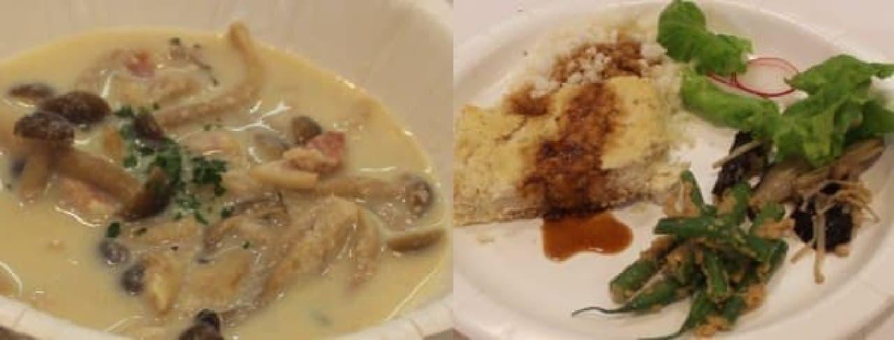 家村さんオススメの「きのこたっぷりクリームシチュー」(左)と  お肉の味と食べごたえを楽しめる「おからバーグ」プレート(右)