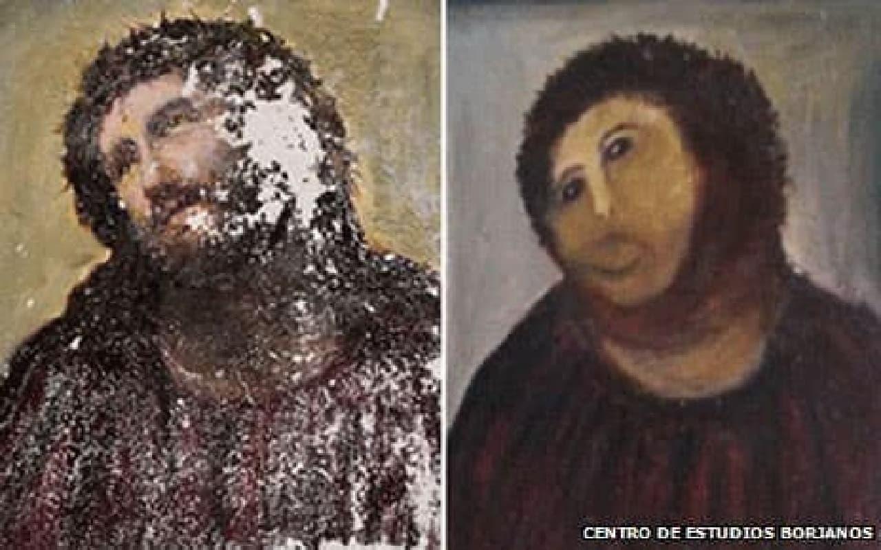 修復前(左)と修復後(右)のフレスコ画