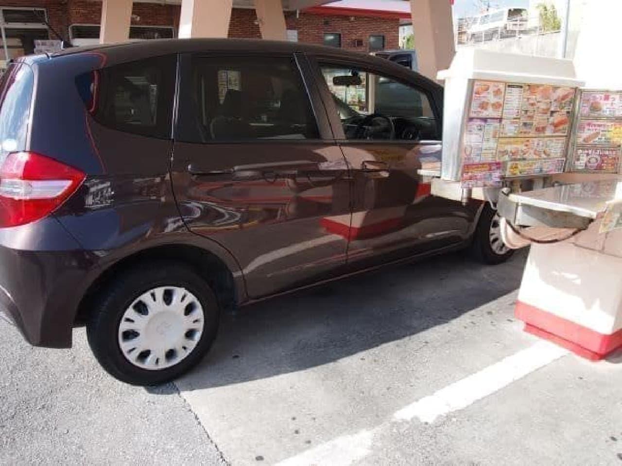 車窓の位置に合わせて駐車してね!
