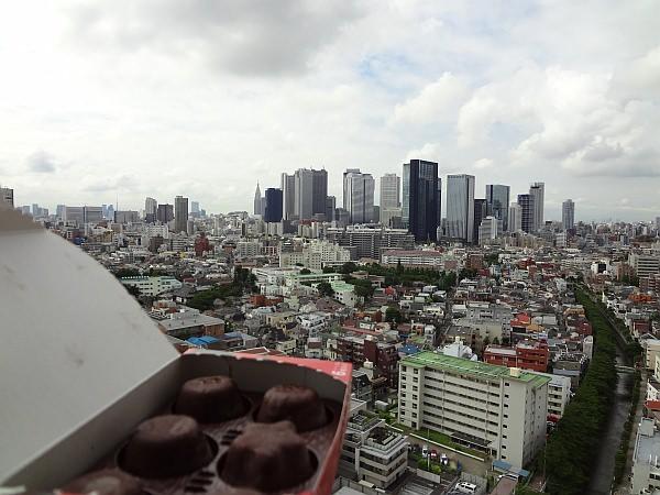 新宿の高層ビル群をバックに誇らしげなピノ
