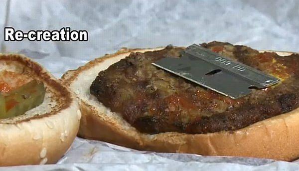 発見されたものと同型のカミソリの刃を使った再現画像(出典:News10 ABC )