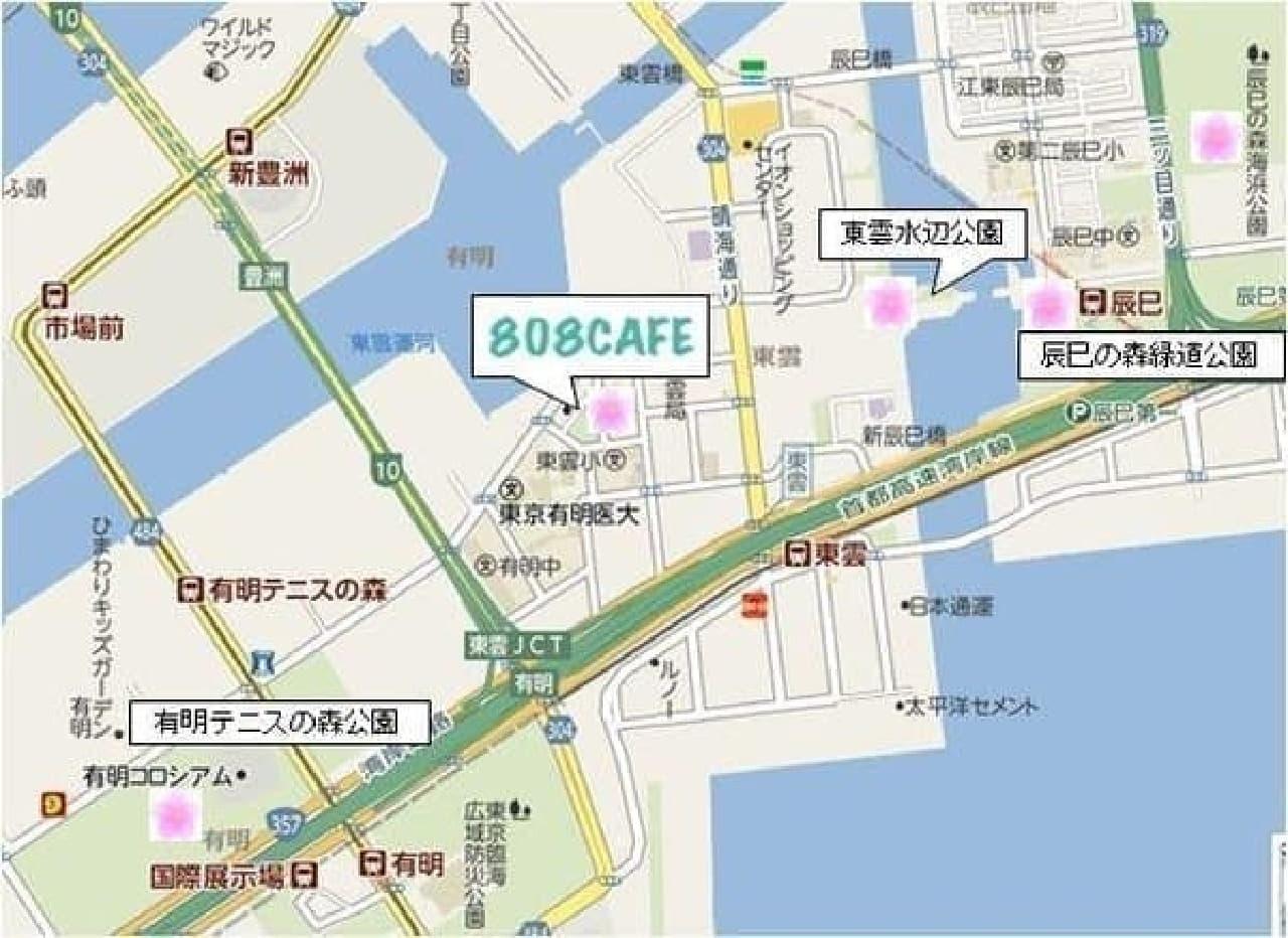 808 カフェ周辺のお花見マップ