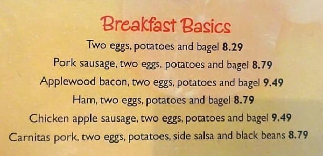 一般的な「Breakfast Basics」  やはり品数は多めです