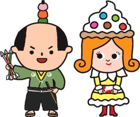 ひろしま菓子博のキャラクター、かしなり君(左)とスイーツ姫(右)