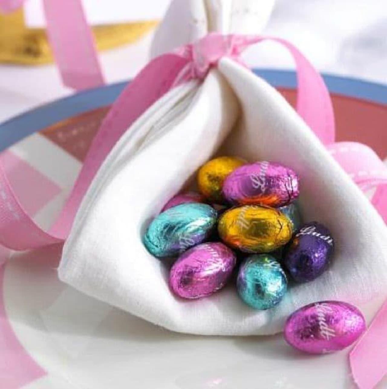 エッグハントバスケットに含まれるエッグチョコレートの一部