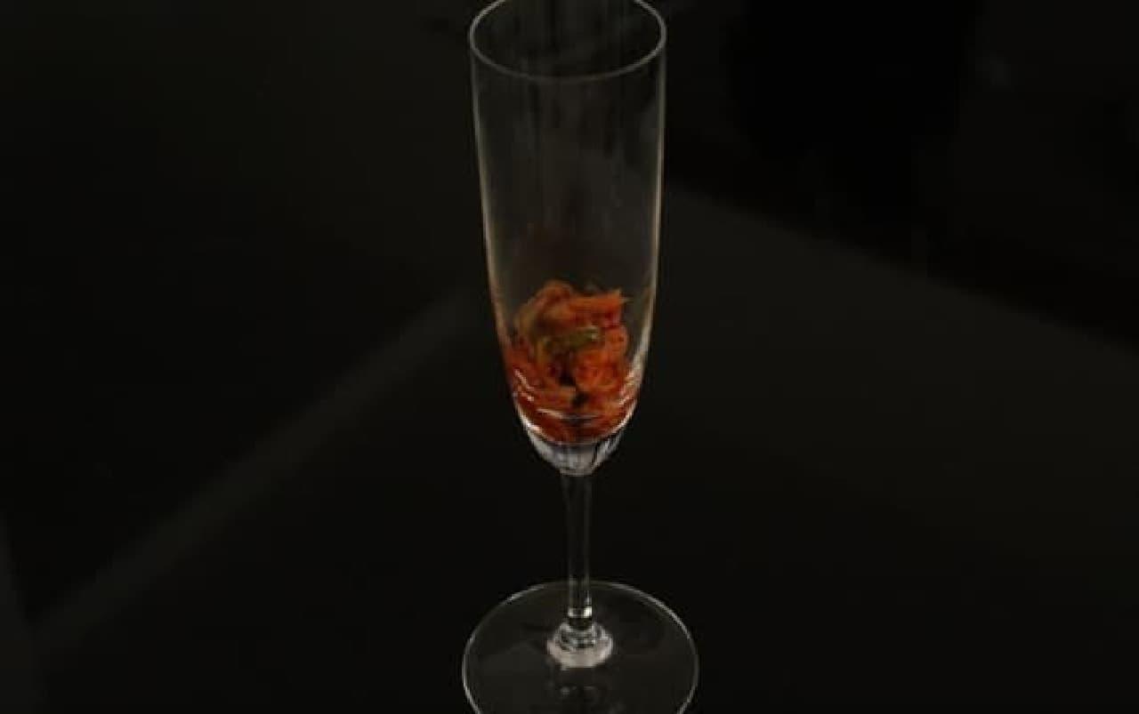 キムチ in シャンパングラス