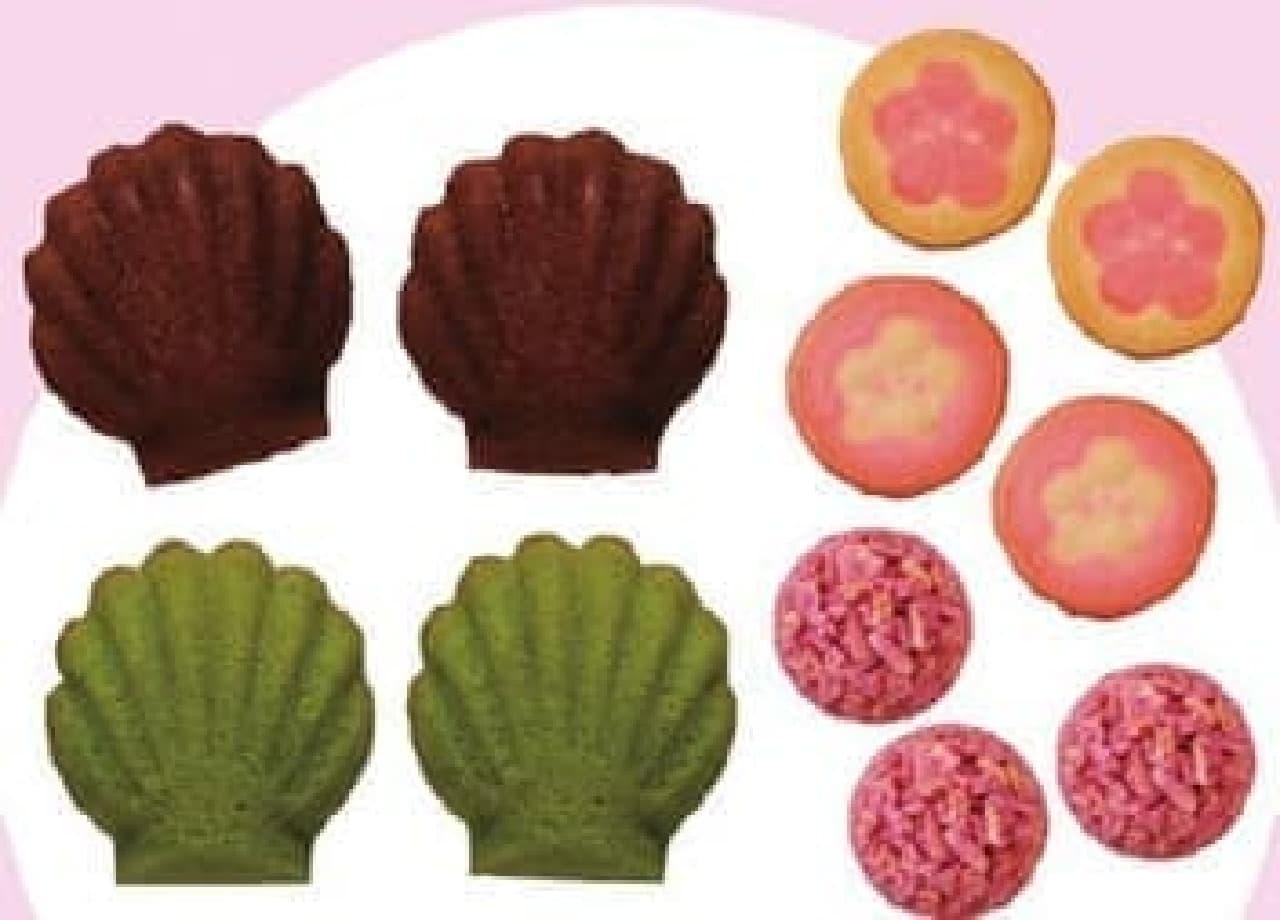 マドレーヌ(左)、クッキー(右上)、いちごチョコクランチ(右下)