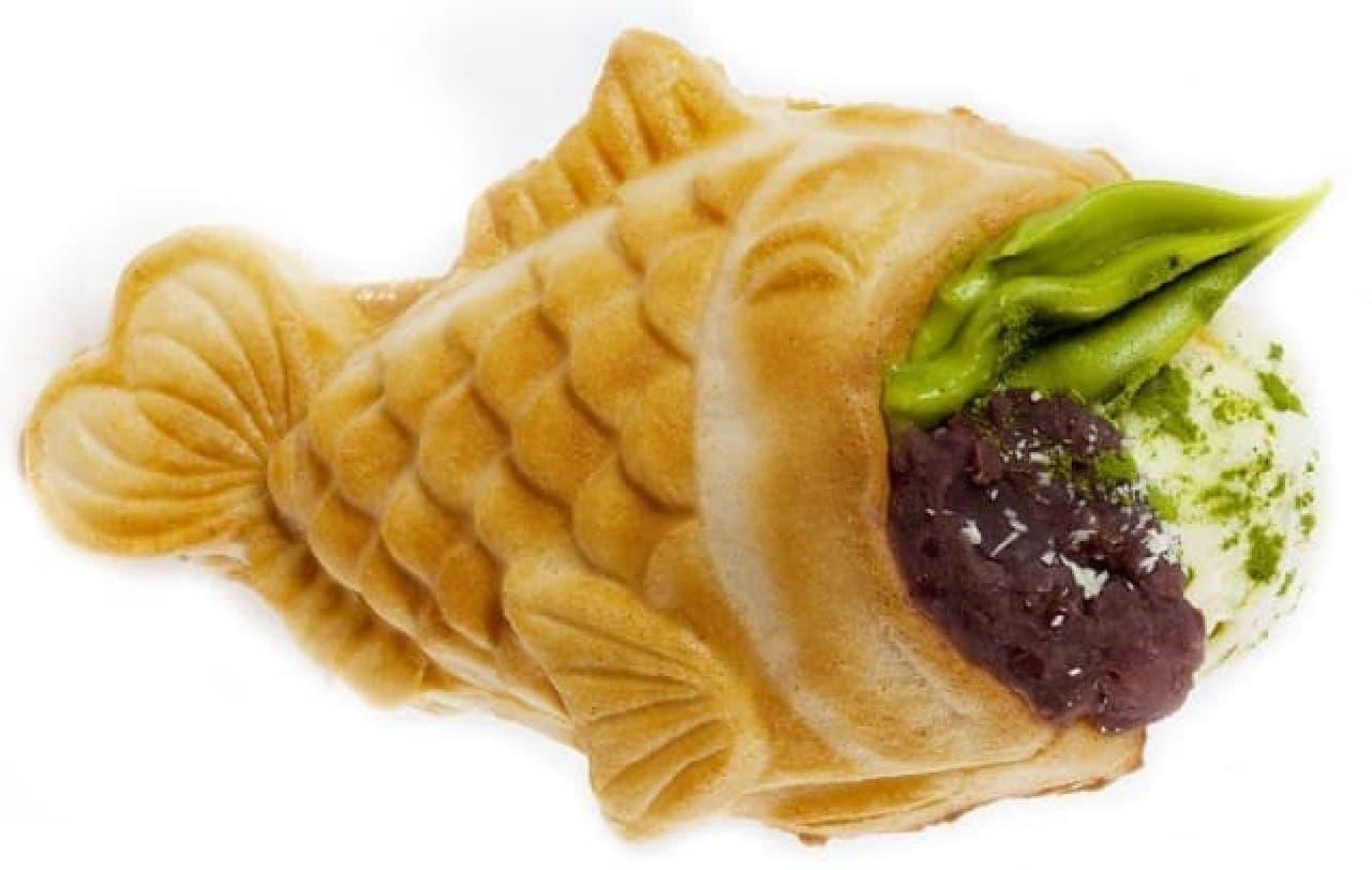 お抹茶小豆ジェラート  鯛が泣いているように見えるのは、気のせい?