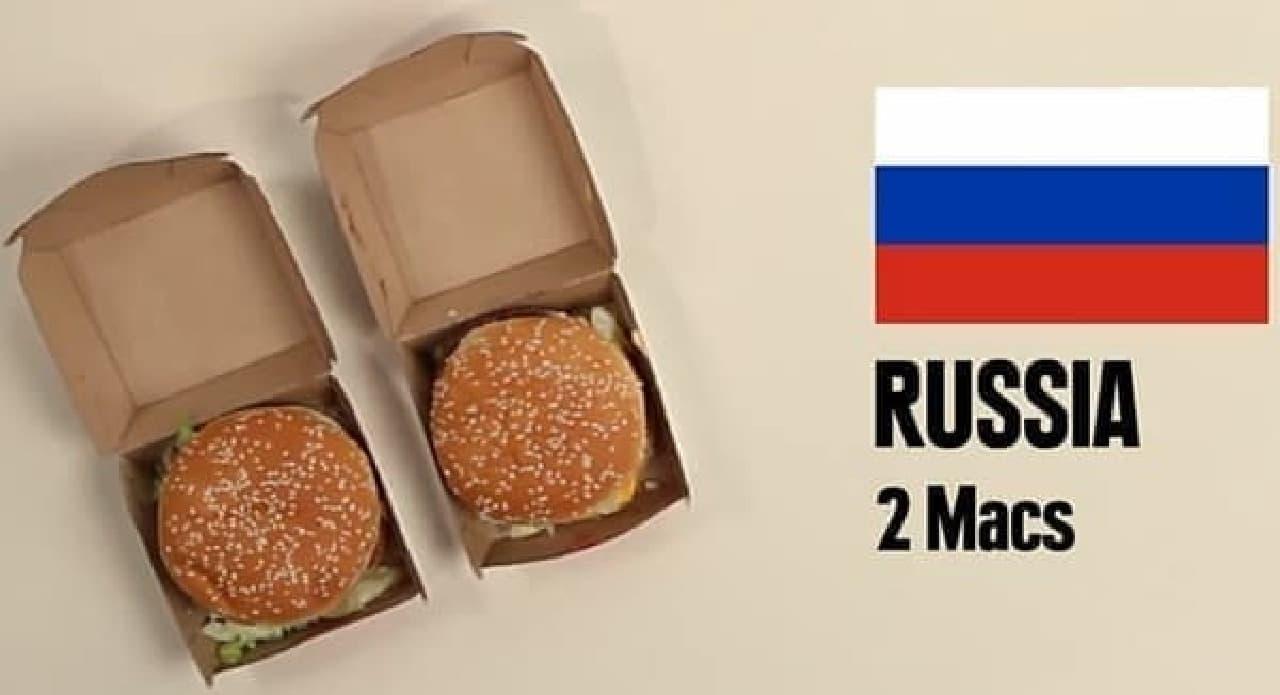 ロシアでは、2個