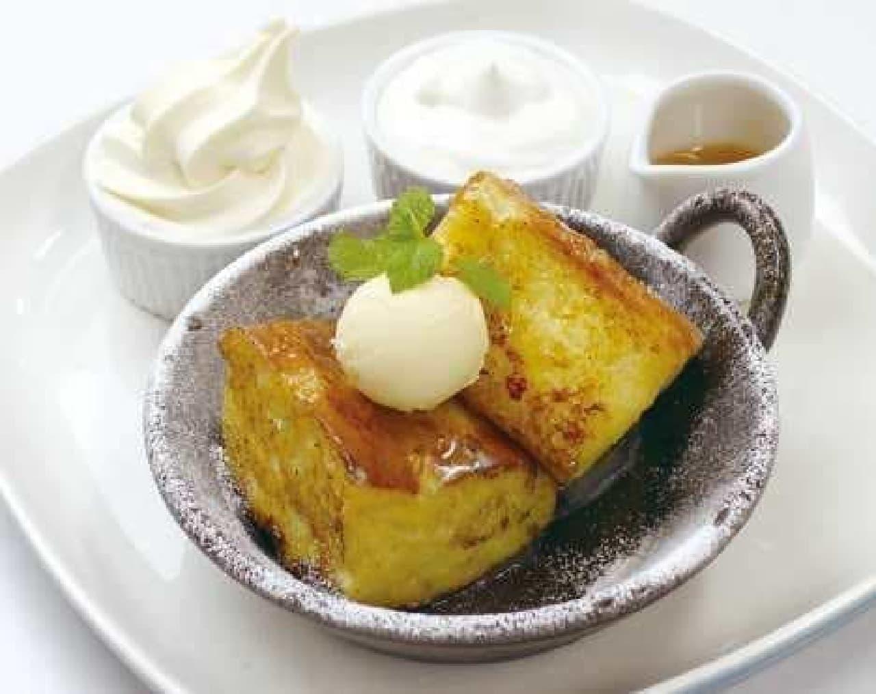 発酵バターと蜂蜜のフレンチフォカッチャ ~北海道生乳ソフトクリーム~ (850円)