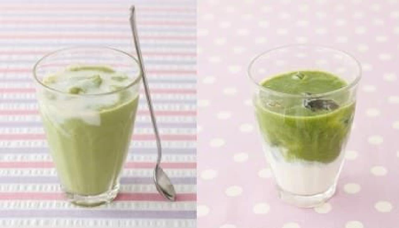 「豆乳とヨーグルトのグリーンフローズン」(左)  「同 グリーンラテ」(右)