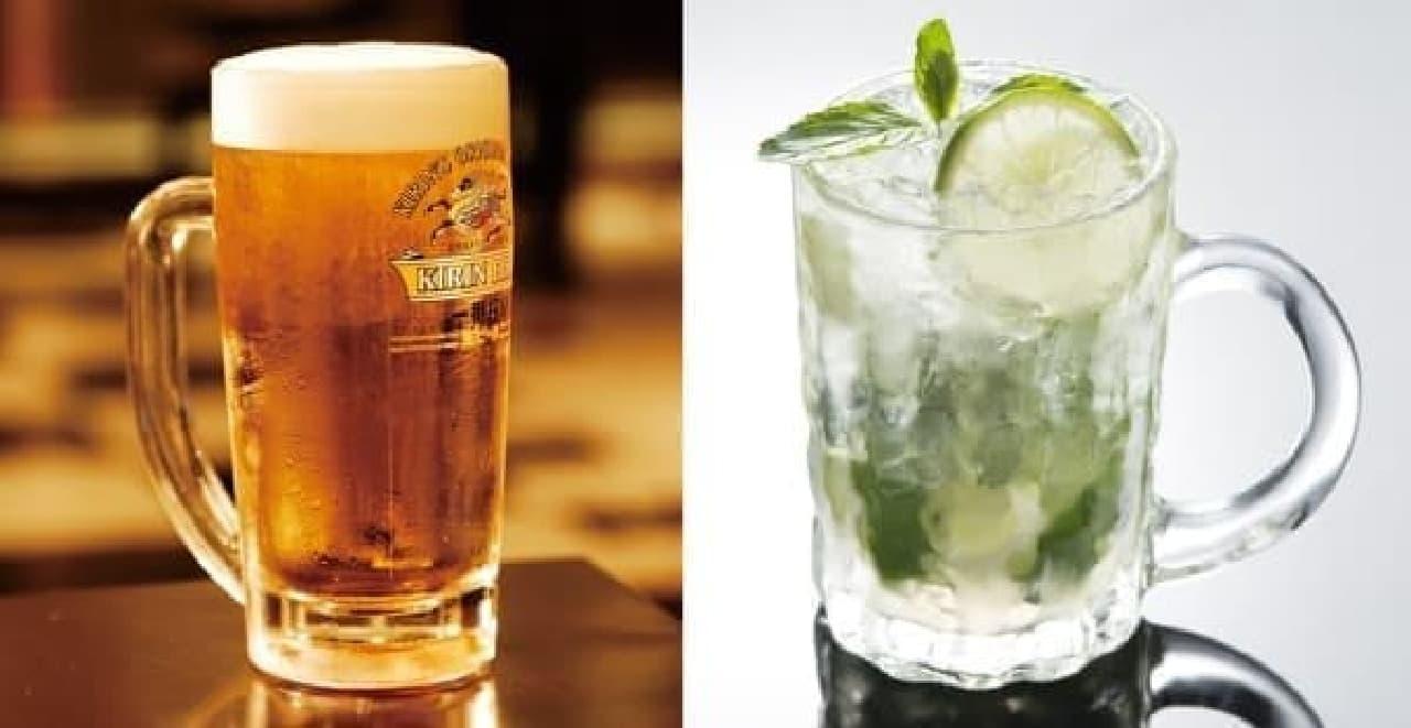 ジョッキ生ビール(左)とカイピリーニャ(右)