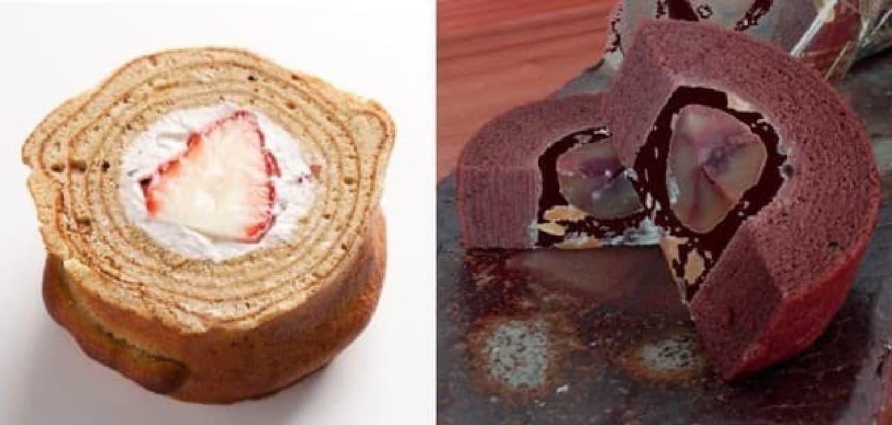 「大納言バウムロール(生苺)」(左)と、「柚子チョコバウム」(右)