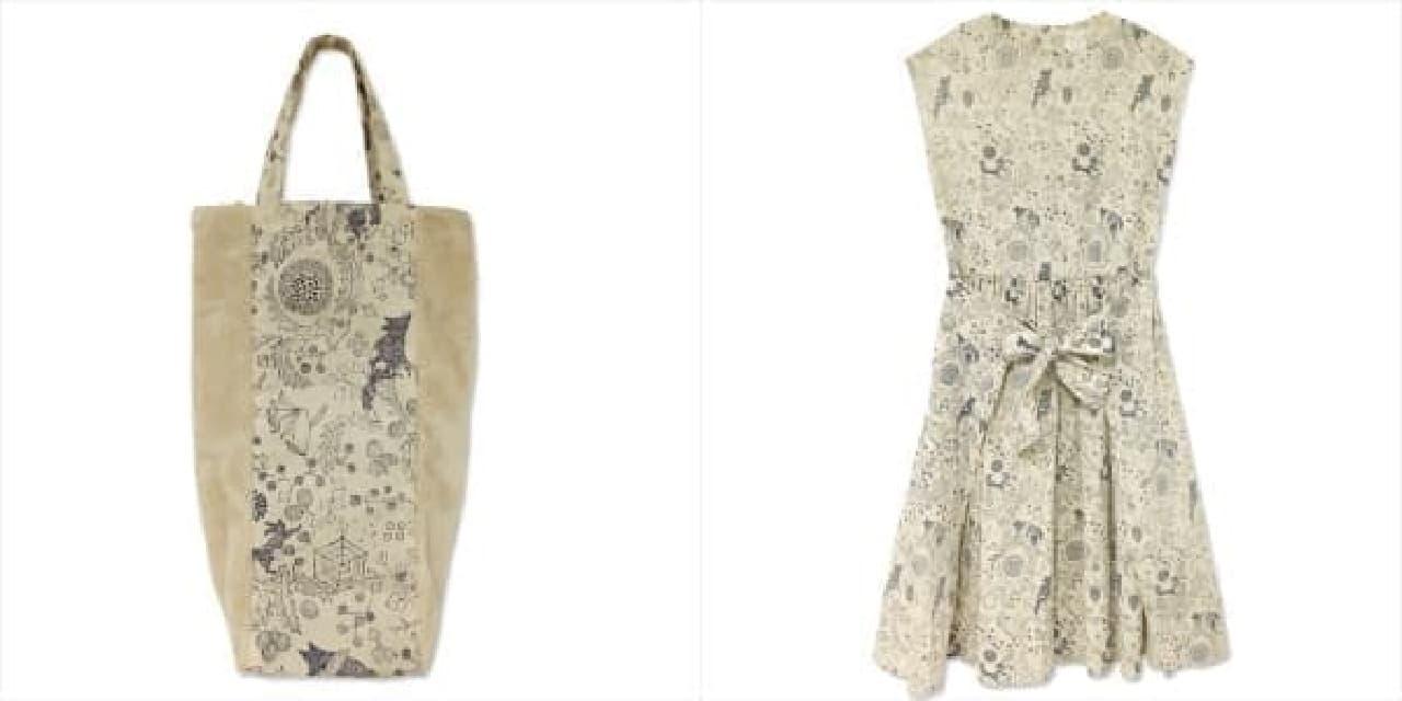 限定商品のワインバッグ(左)とワンピース(右)