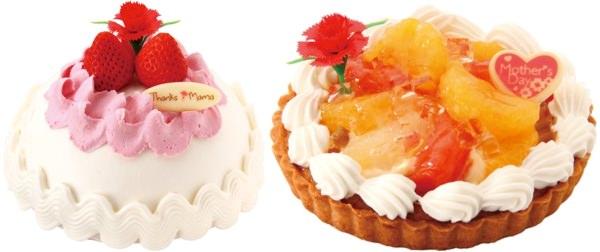 カーネーションケーキ(左)、ミックスフルーツタルト(右)