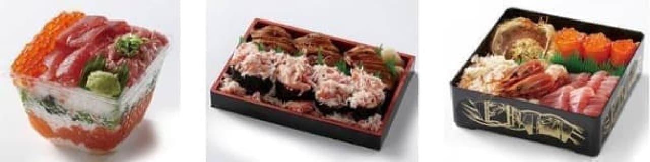 左:創作鮨処 タキモト「情熱の真っ赤なミルフィーユ」  中:平島「西のとろあなご3貫にぎりとカニ軍艦」  右:中島水産「毛ガニ海の幸丼」