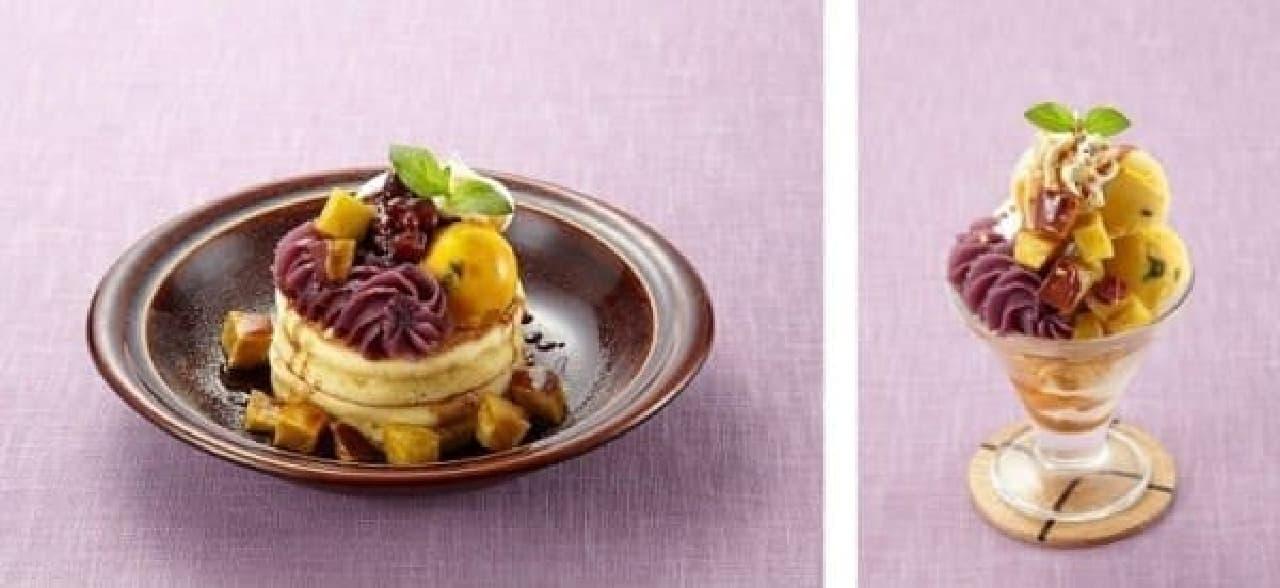 紫芋を味わうパンケーキ(左)とパルフェ