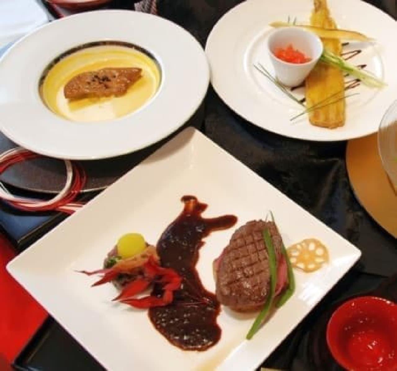 三木城の兵糧攻めをイメージして盛り付けられたメイン料理