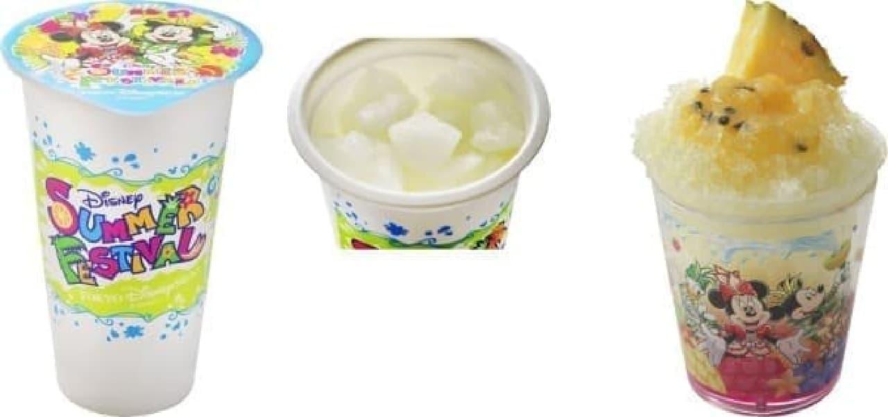 左:クラッシュアイス(ライチー&グレープフルーツ)  右:シェイブアイス(トロピカルフルーツ)   (C)Disney