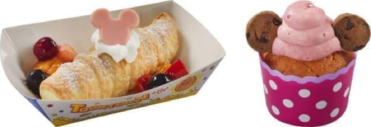 ミッキーマウスをイメージした「レモンクリームパイ」(左)と  ミニーマウスをイメージした「ストロベリーチョコチップマフィン」(右)