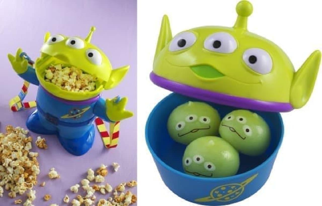 ポップコーン(左)とリトルグリーンまん(右)  一緒にパーク散策しようね…(C)Disney / Pixar