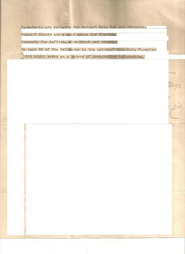 コカコーラのレシピとされる文書の2ページ目