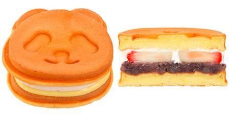 パンダのパンダっふる (あんこ&苺入りミルククリーム)には、  苺がそのまま入ってます!贅沢!