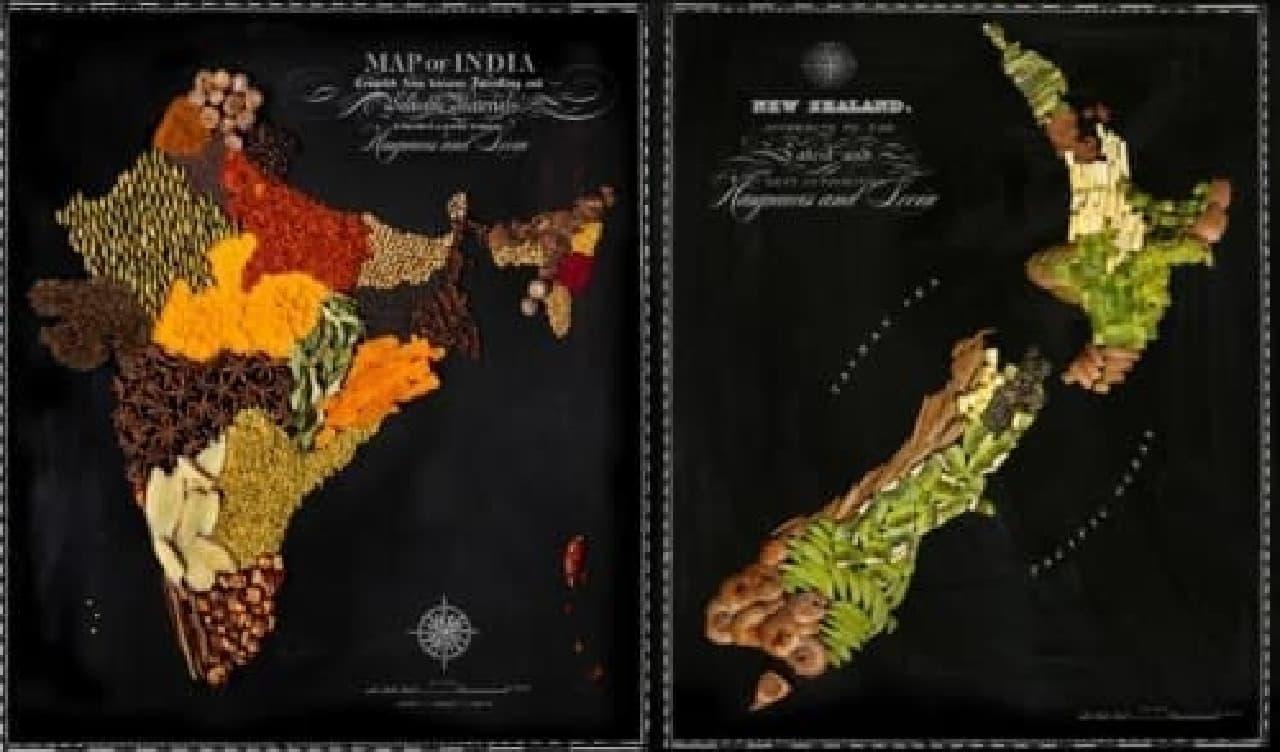スパイスでできたインド(左)と、キウイでできたニュージーランド(右)  (出典:hargreavesandlevin.com)