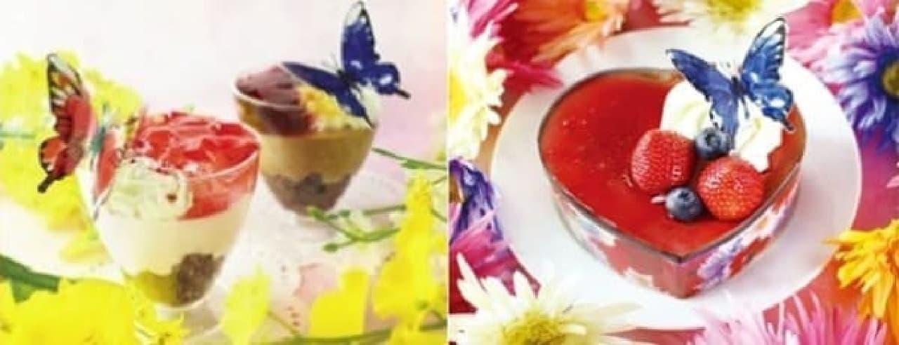 写真左が「きらめきパフェ」各種、右が「ハートのショコラ」