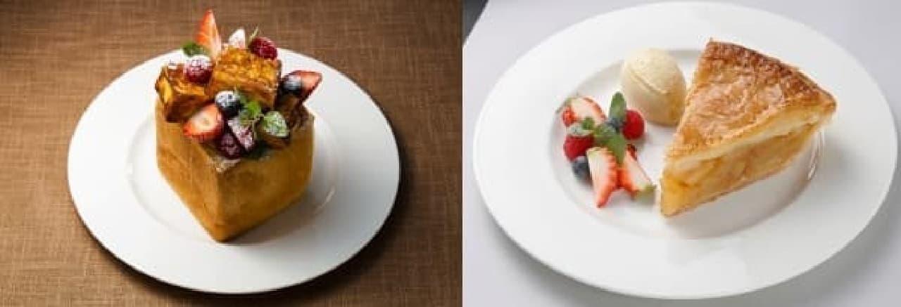 フルーツごろごろっ!フレンチトースト(左)と  羽田空港限定のアップルパイ(右)