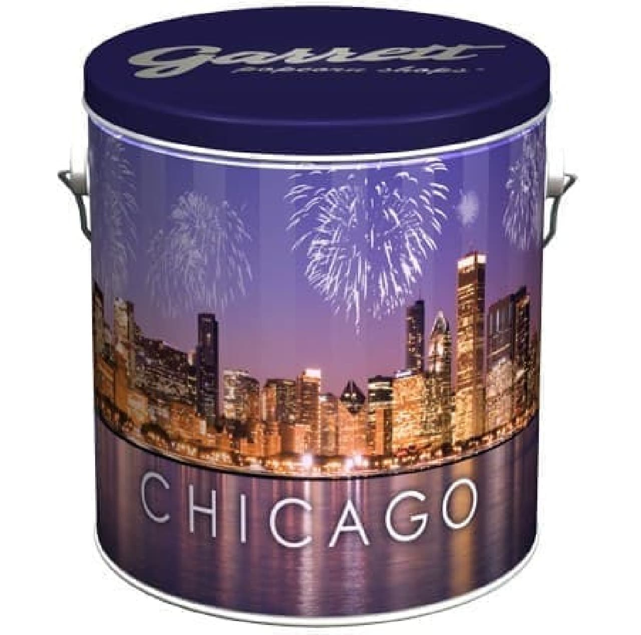 本店のあるシカゴの美しい夜景が描かれた限定缶