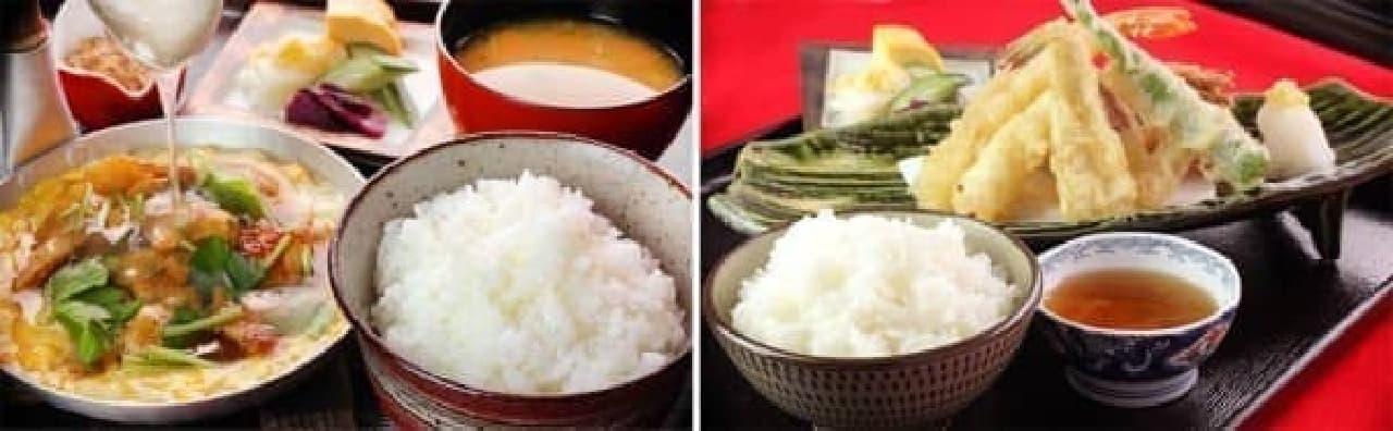 祇園で人気の「親子丼」(左)、「天麩羅御膳」(右)